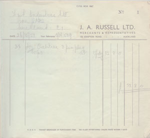 J. A. Russell's first invoice